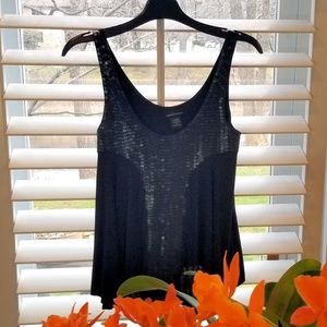 Elegant sequined black swing top